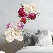 Amazon Com Innovative Stencils Peony Flowers Vintage Bouquet Wall Decal Sticker Peel And Stick Floral Art Decor Removable And Reusable 3033 Large White And Red 7 Flowers Home Kitchen