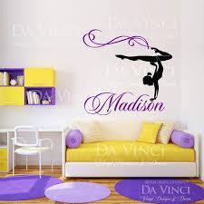 Personalized Girl Name Gymnast Gymnastics Dance Vinyl Wall Decal Sticker Room Ebay Gymnastics Room Decor Gymnastics Bedroom Gymnastics Room