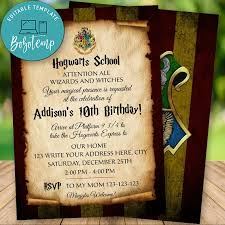 Invitacion De Cumpleanos De Harry Potter Wizard Editable Descarga