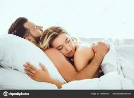 happy young couple hugging closed eyes