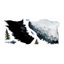 Roommates Watercolor Mountain Bear Wall Decal