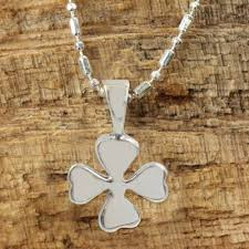 silver lucky 4 leaf clover necklace