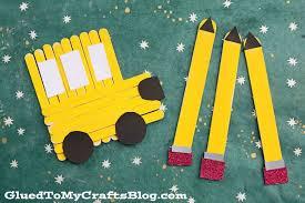 Popsicle Stick Pencils School Bus Back To School Kid Craft