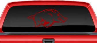 Razorback Rear Truck Window Decal Vinyl Sticker 22 X 10 5 Red Free Shipping Razorbacks Window Decals Arkansas Razorbacks