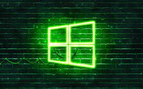 تحميل خلفيات ويندوز 10 الأخضر شعار 4k الأخضر Brickwall ويندوز