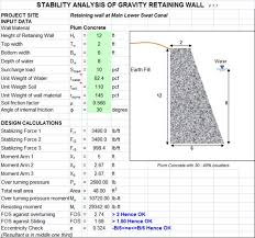 design of gravity retaining walls excel