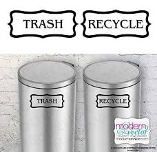 Amazon Com Flourish Border Trash And Recycle Vinyl Wall Decal Sticker For Metal Aluminum Steel Plastic Trash Cans Indoor Use Farmhouse Style Handmade
