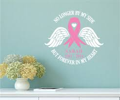 Memorial Breast Cancer Awareness Ribbon Vinyl Decal Wall Stickers Letters Words