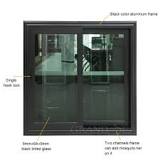 black aluminum frame sliding glass