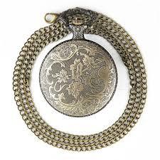 new vintage bronze crystal pocket watch
