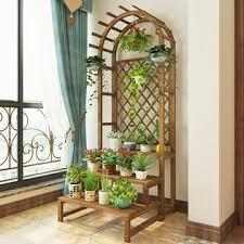 Unho Fk8m657usf8l 3 Tier Plant Stand Flower Pot Holder Display Rack W Trellis Fence Indoor Outdoor