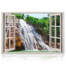 Realistic Window Wall Decal Peel And Stick Spa Decor For Living Room Bedroom Office Playroom Waterfall Wall Murals Removable Window Frame Style Nautical Wall Art Vinyl Poster Wall Stickers