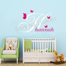Personalized Name Wall Sticker Vinyl Art Custom Baby Girls Boys Name Decor Poster Beauty Letter Butterflies Wall Decal J170 Wall Stickers Aliexpress