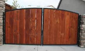 Wood Slats Metal Frame Car Gate Front Yard Fence Fence Backyard Gates
