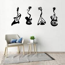 Vinyl Wall Decal Musical Instrument Store Rock And Roll Electric Guitar Stickers Mural Fashion Art Guitar Wallpaper Wl1452 Wall Stickers Aliexpress