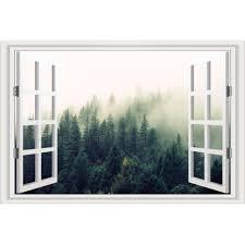 Mailingart Wall Stickers Home Decor False Faux Window Frame Sticker Fog Woods Sale Price Reviews Gearbest