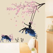 Bibitime Tree Branch Blooming Plum Blossom Wall Art Girls Wall Stickers Kids Room Wall Decor Diy Wall Stickers