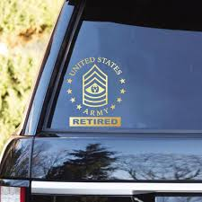 Us Army Ranks Retired Clear Stickers Veterans Nation