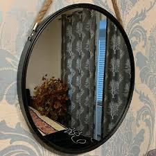 round wall mirror black porthole rope