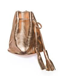 rose gold leather bucket bag small