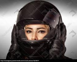 beautiful biker woman stock photo