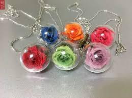 preserved flower rose ball necklace