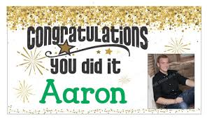Graduation Congratulations Banner Sign Printed With Name And Photo 36x20 Inch