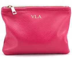 monogrammed makeup bag leather
