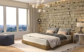 تحميل خلفيات أنيقة غرف النوم الحديثة جدار الحجر التصميم الداخلي