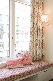 Pink Kids Window Seat Bench And Curtains Transitional Girl S Room