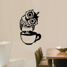 Cute Cartoon Owl On Mug Wall Stickers Coffee Decorative Decal For Kitchen Dining Room Vinyl Stickers For Coffee Bar Home Decor Wall Stickers Aliexpress