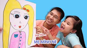 Bé Bún Hướng Dẫn Bố Vẽ Mẹ - YouTube