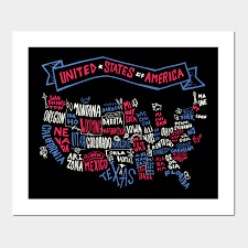 usa map posters and art prints