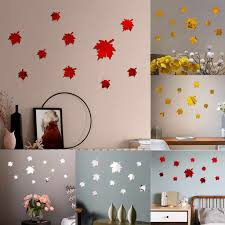 New 3d Diy Maple Leaf Wall Sticker Decoration Acrylic Mirror Wall Stickers For Tv Background Home Decor Acrylic Decor Wall Art Wall Stickers Aliexpress