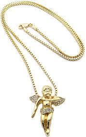 gold tone micro baby angel pendant 2mm