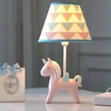 Single Light Cone Table Light With Blue Pink Unicorn Base Children Room Fabric Table Lamp Beautifulhalo Com