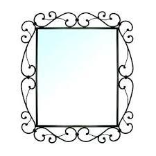 frame mirror metal bathroom wooden
