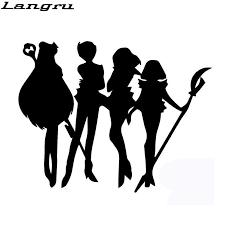 Langru Handsome Outer Animation Silhouette Figures Sailor Moon Car Sticker Car Styling Vinyl Decal Jdm Jdm Style Animal Silhouettescar Styling Aliexpress