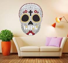 Skull Wall Decal Halloween Wall Decal Sugar Skull Wall Decor Multi Color Sugar Skull Wall Vinyl Decal Halloween Wall Decor Mc588 Skull Wall Decor Halloween Wall Decor Skull Decal