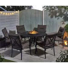 fire pit and ice bucket dining set