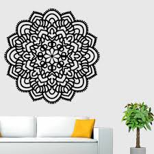Hot Black White Gold Mandala Flower Decal Wall Stickers Wall Paper Sticking Poster Indian Floral Bedroom Decor Wall Sticker Fk3 Wall Stickers Aliexpress