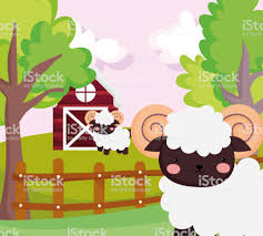 Goats Wooden Fence House Trees Grass Farm Animal Cartoon Stock Illustration Download Image Now Istock