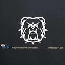 Tough Bulldog Dog Face Silhouette Car Decal Window Sticker