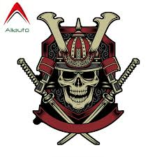 Aliauto Car Sticker Samurai Warrior Skull With Crossed Auto Accessories Vinyl Decal For Honda Civic Mitsubishi Lada 13cm 12cm Car Stickers Aliexpress