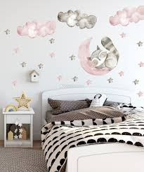 Nursery Cute Raccun And Watercolor Pink Gray Stars Wall Decal Sticker Wall Decals Wallmur