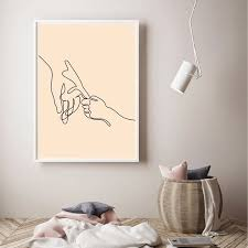 Nursery Decor Holding Hands Fine Line Drawing Art Poster Boho Wall Art Canvas Print Minimalist Painting Poster Kids Room Decor Painting Calligraphy Aliexpress