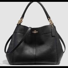 coach bags black pebble leather tote