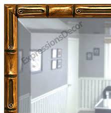 custom gold bamboo beveled wall mirror