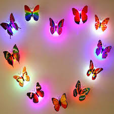 Glowing 3d Butterfly Led Wall Sticker Light Art Decal Kids Room Removable Decor Ebay