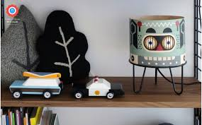 Kids Bedside Table Lamps Minilum Table Light For Nursery Or Kids Room Robot Lampshade And Black Base Designed By E Glue